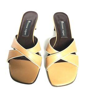 Etienne Aigner Leather Slip On Slides Sandals Heel